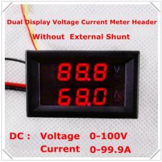 Voltmetru si Ampermetru digital 100 V 100 A rosu - rosu - Indicator