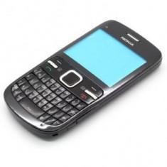 Carcasa cu tastatura Qwerty Nokia C3 4 piese Neagra