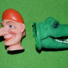 Lot 2 capuri de marioneta (papusa manuala teatru de papusi): claun si dragon - Jucarie de colectie