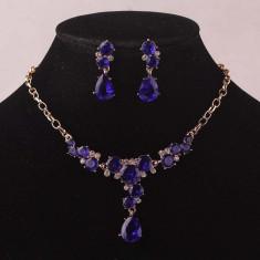 Set Swarovski - Set de bijuterii placat Aur, Royal Blue Swarovski :cod B743