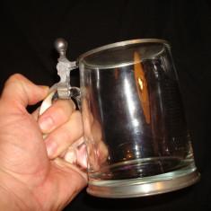Halba pentru bere, din sticla si cu capac din zinc. Germania, Cristal/Sticla