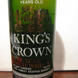 RARE sticla king's crown , 4years, finest scotch whisky,  cl.75 gr. 43, ani 60