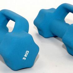 Gantere/Haltere - Set de 2 gantere din neopren 2 x 3 kg - cu manere suplimentare - pentru fitness