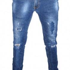 Blugi Conici ZARA - (MARIME: 31) - Talie = 82 CM / Lungime = 109 CM - Blugi barbati Zara, Culoare: Albastru, Cu rupturi, Skinny, Normal
