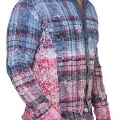 Camasa Barbati Open Jeans Albastru-Roz 1842, Marime: S, Culoare: Din imagine