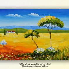 Peisaj din Toscana 1 - tablou ulei pe panza, 90x60cm
