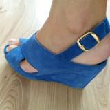 Sandale cu platforma din piele intoarsa BBUP - Sandale dama, Marime: 38, Culoare: Albastru