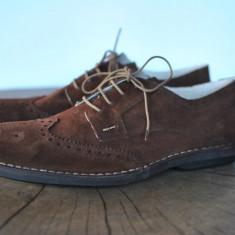 PANTOFI DE PIELE INTOARSA GEN OXFORD MARIMEA 45 - Pantofi barbati, Culoare: Din imagine