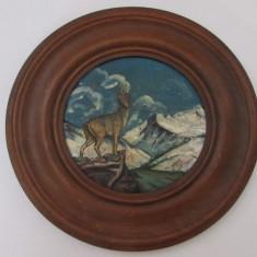 APLICA-PEISAJ-CAPRA NEAGRA PE STANCA-pictata pe lemn