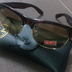 Ochelari de soare Ray Ban, Unisex, Maro, Wayfarer, Protectie UV 100% - Ochelari Ray Ban Clubmaster Wayfarer + Toc