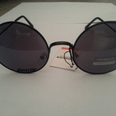 Ochelari de soare rotunzi John Lennon lentile negre style retro