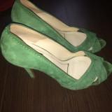 Pantofi dama Zara, Piele intoarsa - Pantofi Zara piele intoarsa, purtati de 2 ori, mar. 38