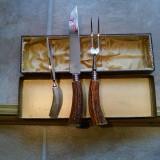 Solingen Set Cutit si Furculita + Stilet cadou