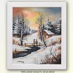 Peisaj hibernal (1) - pictura ulei pe panza 42x37cm (cu rama)