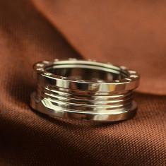 Inel placate cu aur - Inel Bvlgari Silver -model unisex, 18KGP