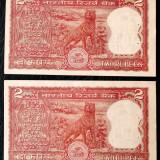 Lot India 2 x 2 rupii tigru consecutive UNC urme capsare sign Manmohan Singh **