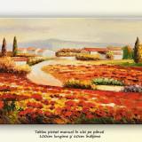 Tablou living - Peisaj cu maci si case - ulei in cutit 100x60cm, An: 2015, Peisaje, Altul