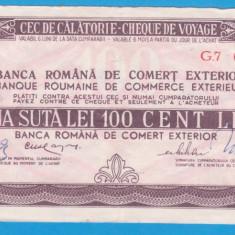 CEC DE CALATORIE (CHEQUE DE VOYAGE) - ARAD - BERLIN - 100 LEI, ANUL 1984 - Cambie si Cec