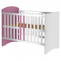 Patut Copii Din Lemn Hubners Anne 120X60 Cm Alb-Roz - Patut lemn pentru bebelusi