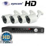 Camera CCTV - Kit supraveghere AHD cu 4 camere 1MP si DVR Eyecam EC-AHD-KIT3