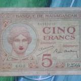 Madagascar (protectorat francez) - 5 francs ( circa 1937 ), Africa