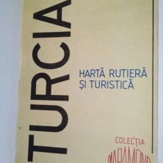 Harta rutiera si turistica Turcia - Colectia Mapamond 1992 - Harta Turistica