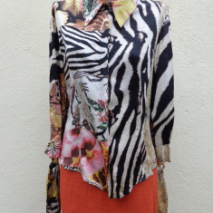 Camasa multicolora din matase Just Cavalli - Camasa dama Roberto Cavalli, Marime: M/L, Maneca 3/4, Universala