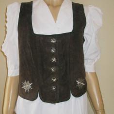 Vesta piele dama costum popular german / tirolez plus camasa tiroleza 40 - Costum populare, Din imagine