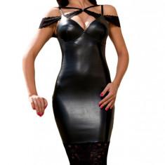 F458-1 Rochie sexy tip bodycon, din imitatie piele si dantela - Rochie de club, Marime: M, M/L