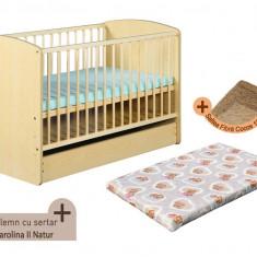 Pat copii - Patut cu sertar KLUPS Karolina II Natur + Saltea Fibra MyKids