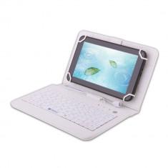 Husa tableta cu tastatura, 8 inch, Universal - Husa Tableta 8 Inch Cu Tastatura Micro Usb Model X, Alb, Tip Mapa C86