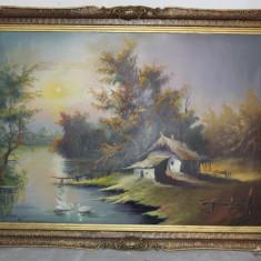 Pictura in ulei pe panza; Tablou semnat cu rama din lemn 107X78 cm - Tablou autor neidentificat, Scene gen, Altul