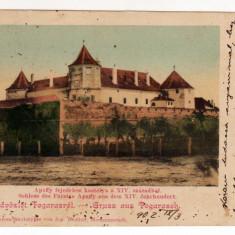 FAGARAS CASTELUL APAFFY CIRCULAT IN 1902 CROMOPHOTOTYPIE DROTLEFF EDITURA WAZEK - Carte Postala Transilvania pana la 1904, Circulata, Printata