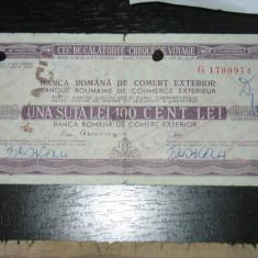 CEC de calatorie 100 lei Banca de comert exterior 1972 - Cambie si Cec