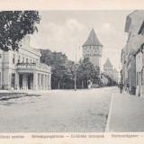 SIBIU, STRADA CETATII, TEATRUL ORASENESC SI CELE 3 TURNURI FORTIFICATE - Carte Postala Transilvania 1904-1918, Necirculata, Printata
