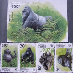 CONGO - MAIMUTE WWF, 4 VALORI SI 1 S/S, NEOBLITERATE - E 3217B