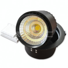 Bec / LED - 25W Spot LED Downlight COB Zoom Fitting Corp Negru 4000K