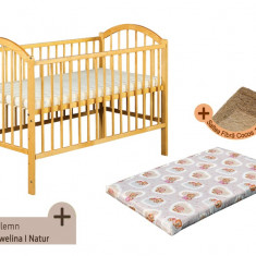 Pat copii - Patut fara sertar KLUPS Ewelina I Natur + Saltea Fibra MyKids