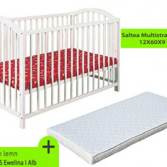 Pat copii - Patut fara sertar KLUPS Ewelina I Alb + Saltea MyKids Gryko