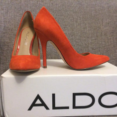 Pantofi ALDO piele intoarsa, marimea 36 - Pantofi dama Aldo, Orange