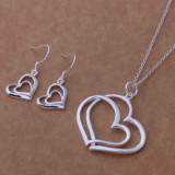Set Argint 925 - lantisor si cercei - Double Heart - Set bijuterii argint