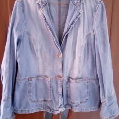 Sacou dama femei fete marimea 44 XL cu maneca lunga din blugi blue jeans bumbac, Culoare: Albastru