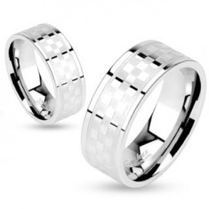 Inel realizat din oțel chirurgical, model tablă de șah mată și lucioasă, 6 mm - Inel inox