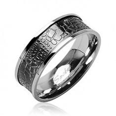 Inel din oțel inoxidabil - piele de crocodil - Inel argint