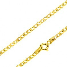 Lanț din aur galben 14K - zale ovale plate, găuri, 500 mm - Lantisor aur