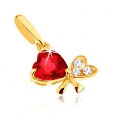 Pandantiv din aur 585 - fundiţă din două inimi, granat roşu, zirconii transparente - Pandantiv aur