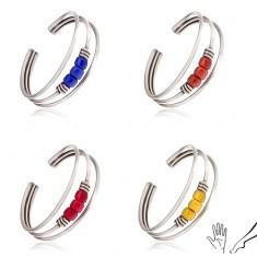 Inel din argint pentru degetele de la mână sau picior, mărgele colorate - Inel argint
