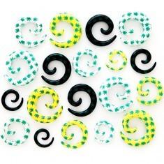 Expander pentru ureche – spirală cu model marijuana - Piercing ureche