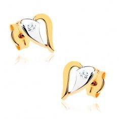 Cercei din aur 9K - contur de inimă strălucitoare în două culori, piatră transparentă - Cercei aur