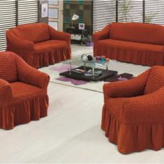 Set huse creponate si elastice canapele si fotoliu 3+2+1 Caramiziu - Husa pat